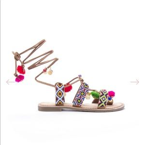 Chinese Laundry Pom Pom Lace-Up Sandals